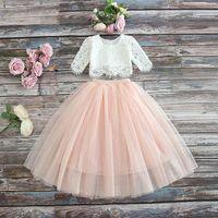 ingrosso ragazze skirt outfits-Vieeoease Girls Set Flower Abbigliamento per bambini 2019 Top in pizzo estivo + Gonna in tulle Completi per bambini 2 pezzi CC-306