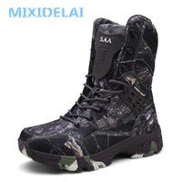 Wholesale military knee high boots men for sale - Group buy New Waterproof Men Tactical Military Boots Desert Boots Hiking Camouflage High top Desert Men s Boots Fashion Work Men s Shoes MX190819
