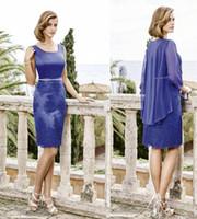 ingrosso abiti blu misura ginocchio-Blue Sheath Lunghezza al ginocchio Madre della sposa Abiti da sposa Piazza collo Slim Fit con abito in chiffon