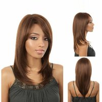 парики коричневые волнистые средней длины оптовых-Мода 16 inche синтетические волнистые полный парик вьющиеся средней длины ежедневно стиль Рождество парик синтетические длинные парик светло-коричневые волосы парики для женщин