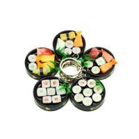 rollo de correa al por mayor-50pcs mucho! Simulación de sushi japonés rollos 4cm Laver clave internado Teléfono alimentos pvc cadena celular correas encantos envío libre del regalo al por mayor mezclada