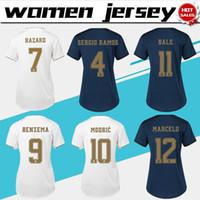 weibliche fußball-uniformen großhandel-Frauen Trikots 2020 Real Madrid Home # 7 HAZARD Soccer Jerseys 19/20 Frauen entfernt Fußball Trikots angepasst Fußball Uniformen