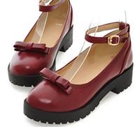 zapatos coreanos de fondo grueso al por mayor-Envío gratis 2018 Primavera coreano bowknot tacón medio Zapatos de mujer de fondo grueso