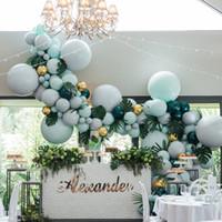 globos verdes de boda al por mayor-373 piezas Globos Arco Macaron Pastel Látex Globo Guirnalda Kit Globos verde oscuro Decoración Cumpleaños Fiesta de bodas Decoraciones