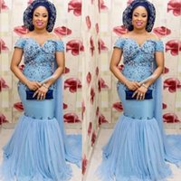 Wholesale maternity dresses for prom resale online - Aso Ebi sky blue Mermaid Prom Dresses Plus Size Off The Shoulder Beading Evening Gowns For Arabia Women Chiffon Sweep Train Party Vestidos