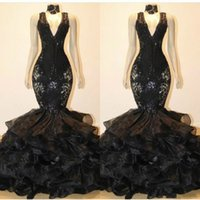 Wholesale plus size sleeveless online - Trendy V Neck Long Mermaid Prom Dress Gowns With Applique Ruffle Tiers Organza Vestido de fiesta Black Formal Evening Wear Celebrity Dress