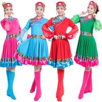 ethnische kostüm frauen großhandel-Chinese National Woman Dance Kostüme Lady Minority Performance Stage Dress Frauen Chinese Folk Dance Ethnische tibetische Kostüme