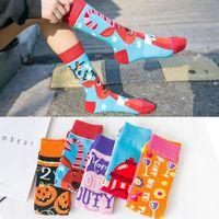 design knie hohe socken großhandel-Neue Entwurfsfrauen druckten Sockenart und weise erwachsene Halloween-breathable Baumwollrotwild-kniehohe Socken freie Größe