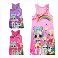 Wholesale novelty wears kids resale online - Kids Surprise Girls Princess Dress Sleeveless Tank Dresses Cartoon Printed Princess Skirt Braces Skirt Bow Ball Gown Party Wearing C432