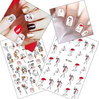 desenhos de tatuagens sexy para mulheres venda por atacado-Prego Abstract Linha 1pcs Sexy Girl 3D Adesivos vermelha legal Umbrella Mulher Retro Projeto Manicure Wraps Nail Art Decoração do tatuagem