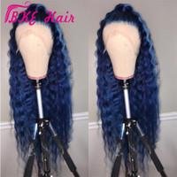 couleur cheveux bleus achat en gros de-Hotselling 360 dentelle frontale perruque longue vague d'eau couleur bleu foncé perruque synthétique devant de dentelle avec des perruques de cheveux de bébé avant