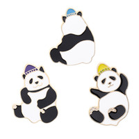 Wholesale pandas diamond resale online - Fashion Enamel Cute Panda Brooch Creative Kawaii Animal Cartoon Pin Coat Collar Bag Cap Badge Jewelry Gift For Men Women Kids