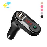 Wholesale sd usb mp3 player audio online - c6 FM Transmitter Aux Modulator Wireless Bluetooth Handsfree Car Kit Car Audio MP3 Player with Dual USB Car Charger TF SD USB LCD