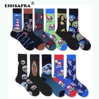 skelettsocken großhandel-[EIOISAPRA] Kreative Kunst Socken Männer Gekämmte Baumwolle Harajuku Hip Hop Trend Skeleton Lustiger Clown Leuchtturm Glückliche Socken Calcetines