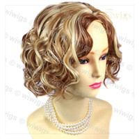 ingrosso parrucca ricci bionda rossa-Lovely Short Curly Blonde Mix Red Summer Style Skin Top Hair Parrucche da donna