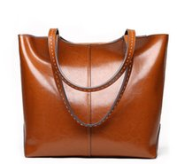 Wholesale tops classic tote bag resale online - hotselling classic high quality women genuine Leather real oil calfskin luxury top handle handbag shoulder bag tote purse S16