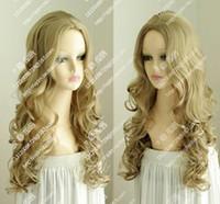 темно-блондинка парик косплей оптовых-Wig Dark Blonde Cinderella Long Wavy Cosplay Wig New Full Hair Free Shipping