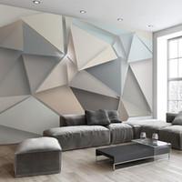 benutzerdefinierte vinyl-kunst großhandel-Benutzerdefinierte Fototapete 3D Modernes TV Hintergrund Wohnzimmer Schlafzimmer Abstrakte Kunst Wandbild Geometrische Wandverkleidung Tapete arkadi