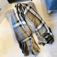 borlas bufanda púrpura al por mayor-2019 Nueva marca bufanda para mujer mantón largo abrigos de diseñador bufanda cuadrícula Impreso imitación bufanda de seda para las mujeres 180 * 90 cm # 258