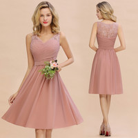 Wholesale dresses for bridesmaids resale online - Short Bridesmaid Dresses For Weddings A Line V Neck Lace Chiffon Pleats Homecoming Cocktail Gowns Knee Length Evening Prom Wear CPS1365