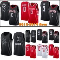 9ad748b94 2018 New Men s Houston James 13 Harden Rockets Chris 3 Paul Basketball  Jersey Carmelo 7 Anthony Red Black Stitched Jerseys