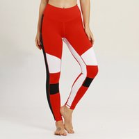 Wholesale red capri yoga pants resale online - Women s Yoga Pant Color Splicing Workout Leggings Push Up Hip Yoga Pants Workout Skinny Fittness Tights Capri