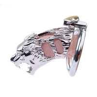 Wholesale bdsm chastity rings for sale - Group buy Tiger Shape Cock Cage Male Chastity Device Stainless Steel Penis Ring Bondage Lock Chastity Cage Adult BDSM Sex Toy For Men