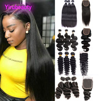 Wholesale peruvian hair way lace resale online - Peruvian Human Hair Loose Wave With X4 Lace Closure Body Wave Straight Kinky Curly Deep Wave Hair Wefts With Closure Middle Three Free Way