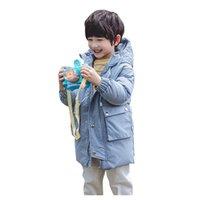 chaqueta con cremallera para niñas al por mayor-Niño muchachas de los bebés a prueba de viento de invierno de dibujos animados abrigos niños de los niños abrigos de invierno Postal Chaqueta con capucha caliente grueso de nieve Outwear