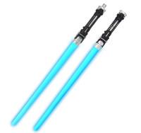 sondaj değnekleri toptan satış-72 Pair Toptan Lots 2 in1 Çocuklar Lazer Işık Kılıç Led Işık saber Ses Light up Değnek Oyuncaklar ile Çocuklar Için Parti Hediye