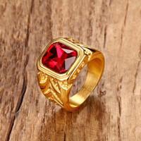 homens zirconia cúbicos anéis de ouro venda por atacado-Mens Fire Red Cubic Zirconia Anéis De Cristal para Homens Tom de Ouro Gravura Em Aço Inoxidável Masculino Hip-hop Jóias