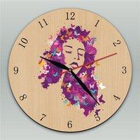 modelos de relógio feminino venda por atacado-Art Imagine o cabelo da mulher da borboleta Pendurado Na Parede Decoração Relógio Retro Relógio De Parede De Madeira Design Moderno