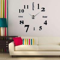 conception de la salle d'horlogerie achat en gros de-2019 design moderne se précipita horloges à quartz de mode montres acrylique miroir autocollant bricolage salon décor 3D grande horloge murale