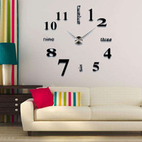 adesivo de acrílico 3d venda por atacado-2019 design moderno apressado Relógios De Quartzo relógios de moda Acrílico espelho adesivo DIY sala de estar decoração 3D grande relógio de parede