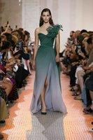 vestido maxi cariño verde al por mayor-Vestido de noche Eliesaab Ziad nakad Yousef aljasm Cariño Una línea de gasa verde Zuhair murad 2018 Kim kardashian Kylie Jenner 58
