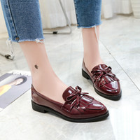 zapatillas oxford venda por atacado-New Bow Tassel Sapatas Flats das Mulheres Apontou Sapatos de Oxford de Moda para As Mulheres Estudantes Zapatos De Mujer Plataforma