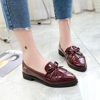 zapatos oxford kadınlar toptan satış-Yeni Yay Püskül Bayan Flats Ayakkabı Sivri Moda Öğrenci Oxford Ayakkabı Kadınlar için Zapatos De Mujer Platformu