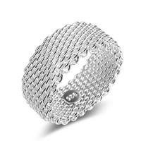 silber mesh 925 ringe großhandel-925 Sterling Silber Ringe frauen Weave Mesh Hochzeit Band Fingerring Für Weibliche Engagement Schmuck Geschenk
