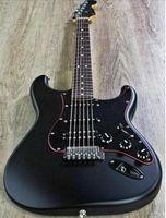 guitarras electricas de caoba al por mayor-De calidad superior FDST-1046 Color negro mate cuerpo de caoba diapasón de palisandro Stratocaster guitarra eléctrica, envío gratis