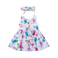 bebek kızı elbiseleri toptan satış-Düşük Fiyat 6 M-3 T Yürüyor Çocuk Bebek Kız Giysileri Kolsuz Çiçek Yaz Elbise Kız Maç Bandı Düğmesi Bebek Kız Sundress