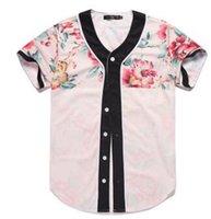 camiseta da rosa 3d venda por atacado-Camisa 3D de Manga Curta Homens Jérsei De Beisebol Esporte Slim Fit V Pescoço T-shirt Streetwear Rose Estilo Tamanho M-XXXL