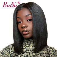 dicke volle spitzeperücken groihandel-Ruiyu Short-Spitze-Frontmenschenhaar-Perücken für schwarze Frauen Bob Wig Volle und Thick Günstige Lace Front Perücken brasilianischen Remy Haar