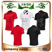 equipes de futebol jerseys vermelhos venda por atacado-2019 Albânia Casa Camisa De Futebol Vermelha 19/20 Albânia Fora Camisas De Futebol Branco Terceiro fora Preto Curto manga nacional uniforme de futebol