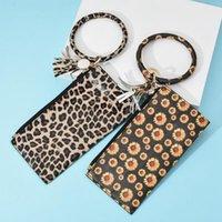 Wholesale wristband purse online – custom Leopard Leather Bracelet Key Chain Wallet PU Wristr Round Key Ring Tassel Pendant Wristbands Keychain Bracelets Clutch Purse LJJA3417