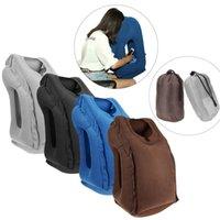büro zurück stützkissen großhandel-Aufblasbare Travel Office Kissen Air Soft Cushion Trip Portable Innovative Körper Rückenstütze Faltbare Schlag Nackenschutz Kissen