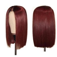 Wholesale brazilian human hair wigs resale online - 1B J Ombre Lace Front Human Hair Wigs With Baby Hair Brazilian Remy Straight Hair Short Bob Wigs For Black Women