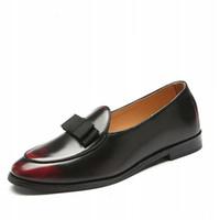 sapatos formais pretos para homens venda por atacado-Homens Oxford Sapatos De Couro com Bow Tie Loafers Sapatas de Vestido dos homens Masculinos Formal de Negócios Apartamentos Casuais Elegantes Cavalheiros de Casamento Homem Preto Sapatos
