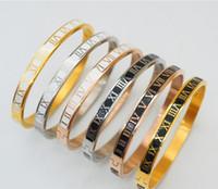 ingrosso braccialetto romanico numerico-Gioielli di design di lusso Bracciale donna Bracciale rigido in acciaio al titanio 316L Bracciale numerico romano Bracciale rigido in oro rosa con fidanzamento in argento