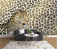 papel pintado decorativo impreso al por mayor-Murales de pared 3d wallpaper Leopardo impresión leopardo sala de estar TV fondo de la pared pintura decorativa