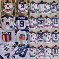 vuelta rapida al por mayor-Personalizada equipo de EE.UU. hockey sobre hielo Jersey 2010 Johnson Malone Pavelski Kesler Whitney Suter Callahan Stastny rápido de Brown Miller Backes Orpik Ryan